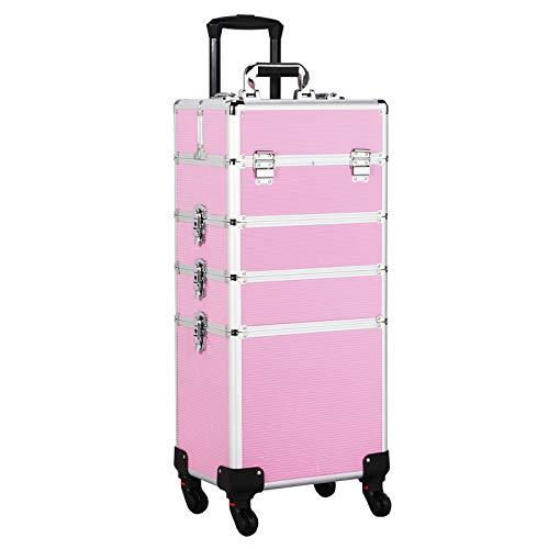 Yaheetech Trolley Valigetta Porta Trucchi Beauty Case Make Up Professionale Cofanetto Cosmetico Viaggio Nail Art Rosa 34 x 25,5 x 100 cm