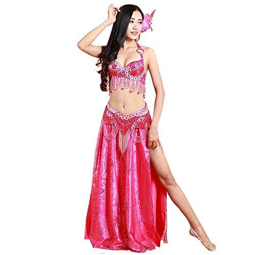 MICROSHE-WD Trajes de Baile de Las Mujeres Disfraz de Danza del Vientre con Escenario de Cuentas moldeadas for Rave Cabaret Party 2pcs Disfraz de Falda Latina (Color : Rosado, tamao : L)
