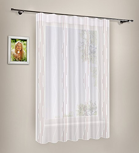 Gardine Happy Home Voile Gardinenstore Dekoschal Vorhang Wellenband Wellendesign halbtransparent 143cm x 167cm weiß-Bordeaux
