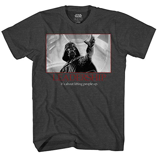 Star Wars Darth Vader Leadership Motivational Poster Adult Tee Graphic T-Shirt for Men Tshirt (Charcoal Heather, X-Large)