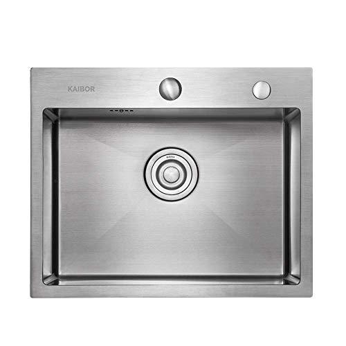 Moderno fregadero cocina de acero inoxidable para armario bajo de 60 cm, Fregadero de un seno cuadrado de 55 cm x 45 cm cm para montaje en pared o empotrado - acabado satinado.