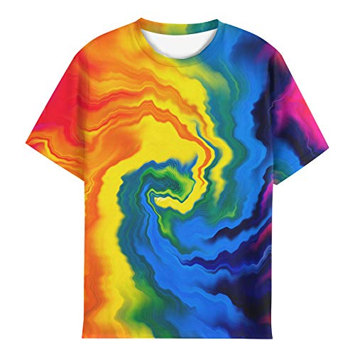 EOWJEED Boys Girls Kids T Shirts Tie Dye Tees Shirts 3D Print Colorful Tops Tee 14-16 Years
