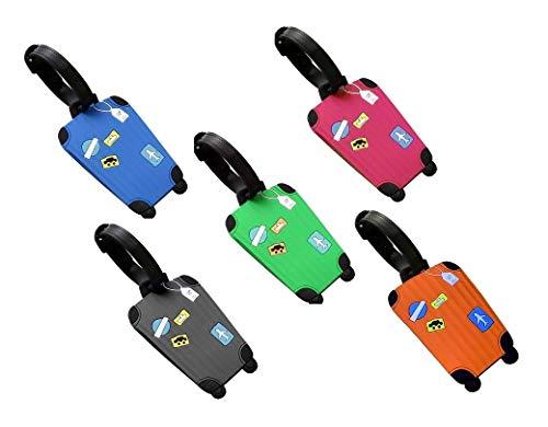 Fontee® 5pcs Equipaje Etiqueta, Silicona Etiquetas de equipaje de avión Dirección Accesorios de viaje Bolso Tag Maleta de viaje ID Name-Rectángulo Identificador Etiqueta 5 colores