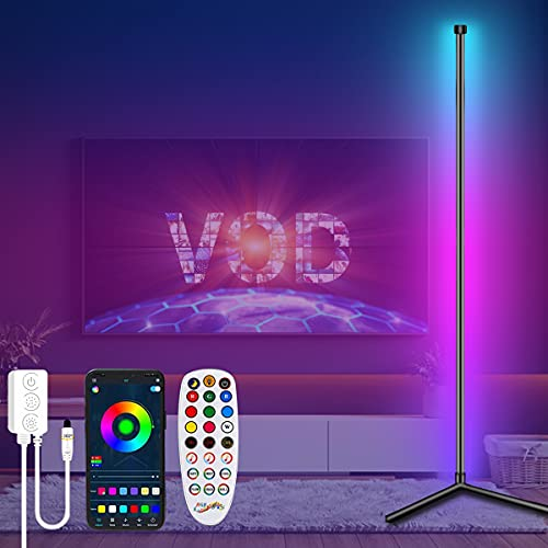 Lashahope Corner Floor Lamp,RGB Color Changing Mood Lighting with Bluetooth App and Remote Control,Music Sync/Timing/ Dimmable/Multi Lighting Modes Floor Lamp for Living Room,Bedroom,Home Decoration