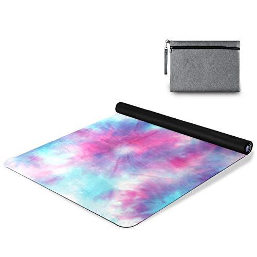 AGONA Modern Watercolor Colorful Tie Dye Yoga Mat Thick Non Slip Exercise Mat Portable Travel Yoga Mat Folding Fitness Workout Mat for Yoga Pilates Home Floor Exercises Children Playtime