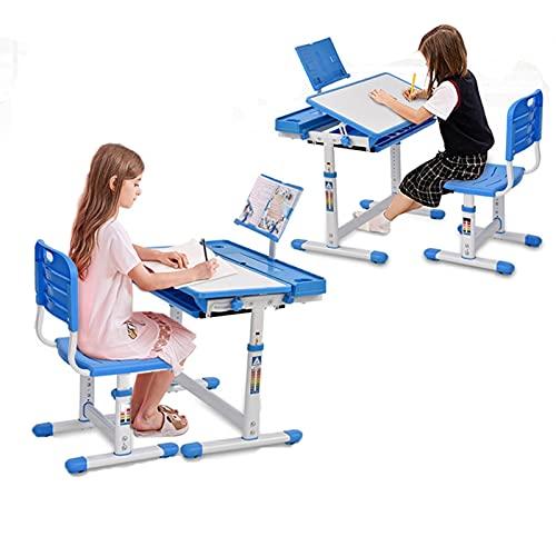 Escritorio infantil regulable en altura, escritorio infantil con cajones y soporte de lectura, escritorio para niños mesa basculante con bandeja, cajón, soporte para libros (azul y blanco)