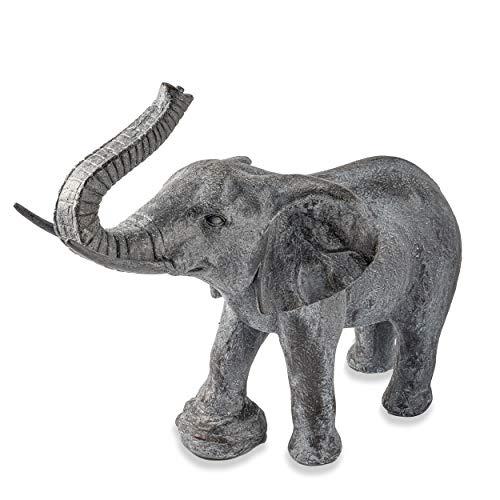 Wasserspeier Figur Elefant Lamia aus Kunststein - (L x B x H): ca. 600 x 270 x 580 mm - Schlauchanschluss 13 mm - Schlauchlänge ca. 1,4 m - Wassergarten Deko Teichfigur, esotec 100734