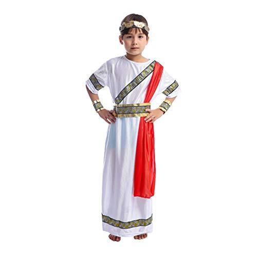 NUOBESTY Disfraz de Romano para Niños Traje de Bata de César Histórico Disfraz de Emperador para Niños Disfraz de Toga Básica para Niños Talla S