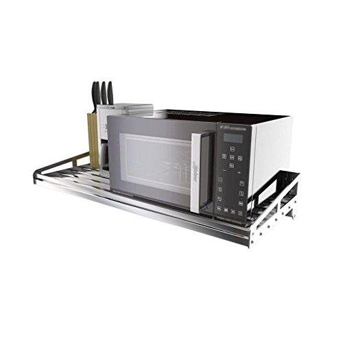 LIN-rlp Kitchen Shelf Wall-Mounted Stainless Steel Microwave Storage Rack Floor Single-Layer Flavoring Storage Rack (Size : 100cm)
