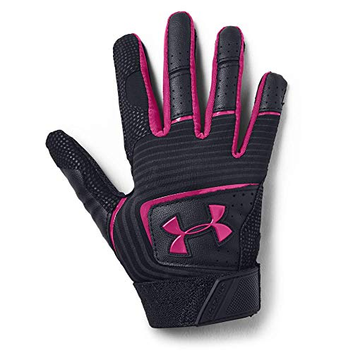 Under Armour Boys' T Ball Clean Up 19 Baseball Gloves , Black (001)/Tropic Pink , One Size Fits All