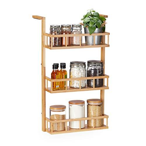 Relaxdays Gewürzregal, zum Hängen & Hinstellen, Küchenschrank, Arbeitsplatte, 3 Etagen, Bambus, Küchen Organizer, natur