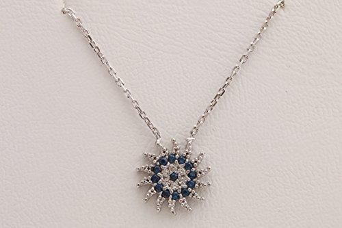 Sun Shape Special Design Turkish Evil Eye Handmade 925 Sterling Silver Round Cut Sapphire White Topaz Rhodium Necklace