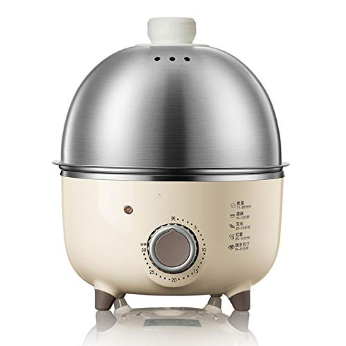 JKC Elektrischer Eierkocher, 220 V, Mini-Haushalts-Elektro-Ei-Dampfgarer, aus Edelstahl, automatisch, Multi-Kocher, Eier-Custard mit Timer
