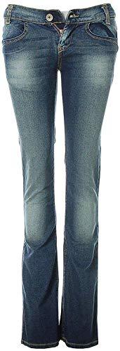 Killah Damen Jeans Hose gerades Bein Ziernähte Used-Waschung (Blau, W28)