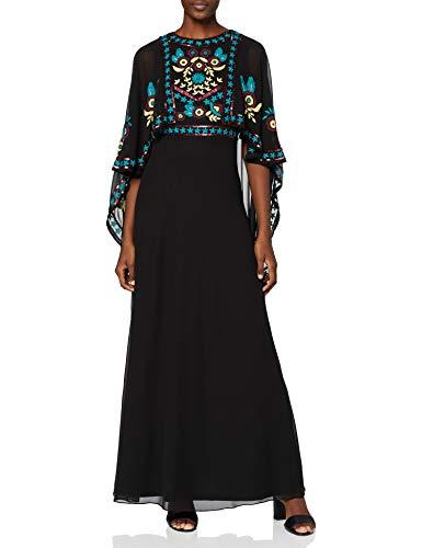 Frock and Frill Cape Sleeve Embroidered Maxi Dress Vestito da Cocktail, Nero, 42 Donna