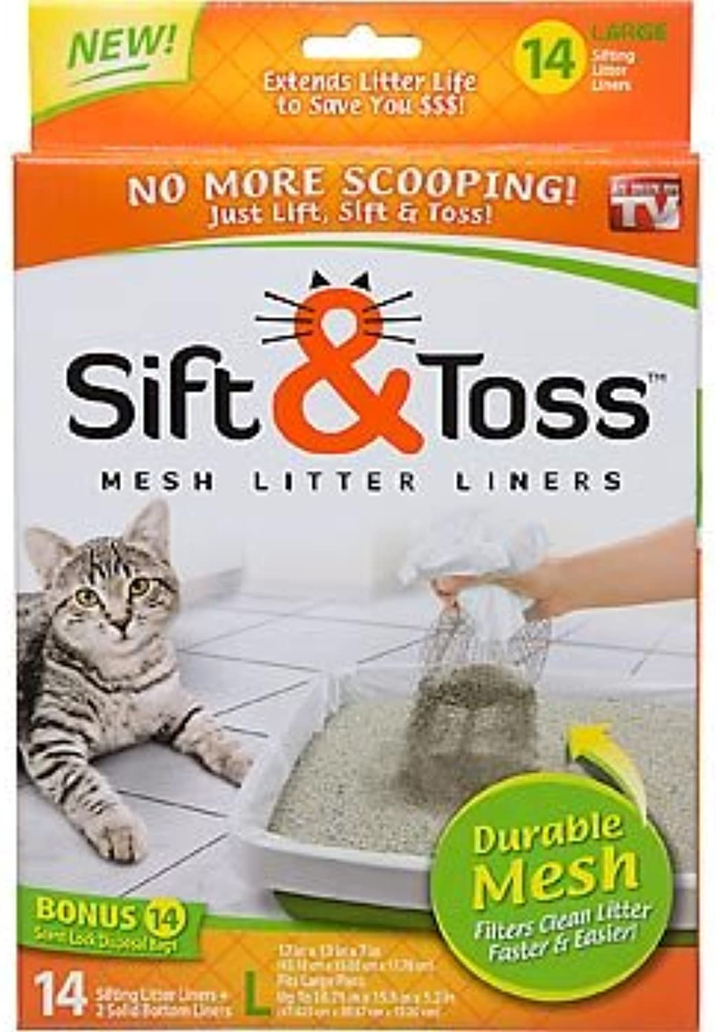 As Seen On TV Sift & Toss Mesh Litter Liners(SizeLarge)