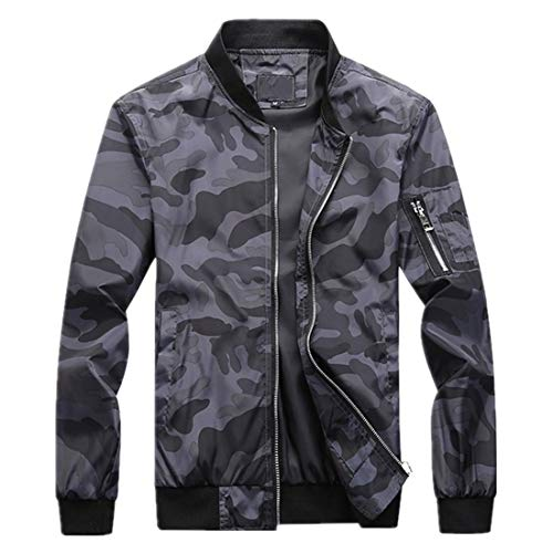 Men Jacket Camouflage Without A Hood Outdoor Fishing Hiking Camping Windproof Waterproof Spring and Autumn Transitional Jacket Thin and Light Comfortable Jacket B-Dark Grey 7XL