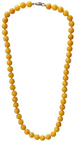 Kaltner Präsente Geschenkidee - Halskette Kugelkette für Damen Frauen aus dem Edelstein Aragonit 50 cm lang einzeln geknotet 8 mm mit Karabiner Verschluss