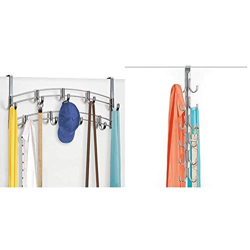 Lynk Over Door 9 Hook Rack Shirt, Belt, Hat, Coat, Towel Organizer, Platinum & Over Door 12 Hook Rack Shirt, Belt, Hat, Coat, Towel Organizer, Platinum