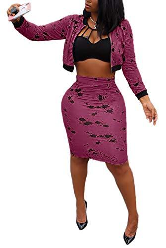 Women Two Piece Skirts Set Blazer Coat Skinny Short Pants Pencil Dress Sweat Suits Jumpsuit for Party Club