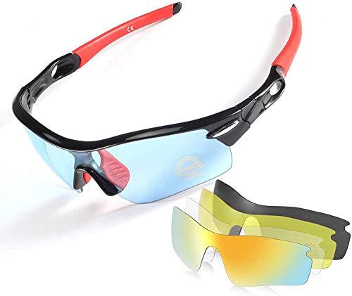 CrazyFire Polarisierte Sportbrille,Sonnenbrille Fahrradbrille,5 Austauschbare Linse,UV-Schutz Polarisierte Sportsonnenbrille für Baseball Autofahren Laufen Radfahren Angeln