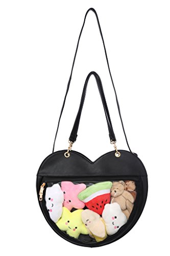 Fascinating Clear Candy Leather Handbag Kawaii Purse Transparent Backpacks Love Heart Shape Crossbody Bags Lolita Ita Bag