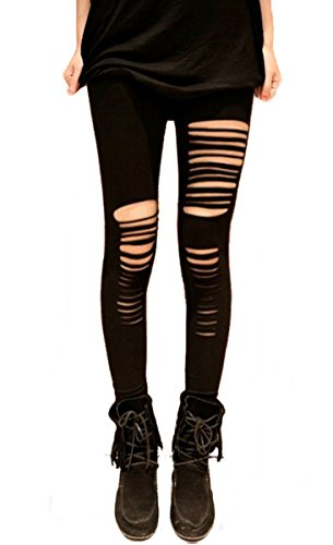 Gothic Punk Rock Leggings schwarz Gr. 34-38