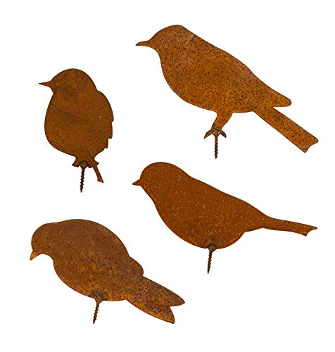 4x Metall-Vögel Gartendekoration mit Schraubgewinde - In Rost-Optik edel - Gartenzaun, Gartenhocker, Baum- & Ast-Dekoration