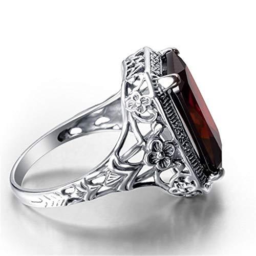 liuliu Anillos de joyería de Plata de rubí Rojo 925 para Mujeres al por Mayor Anillo de Piedras Preciosas Fiesta tamaño 6-10