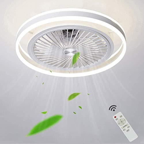 BBZZ Moderno ventilador de techo silencioso con iluminación, luces LED regulables con control remoto, 3 velocidades ajustables, luz de techo LED para sala de estar, sala de estar