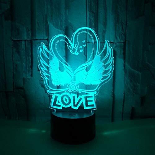 Lámpara 3D Swan Love, Lámpara Visual Led Táctil Colorida, Decoración De Regalo, Atmósfera, Pequeños Accesorios De Iluminación 3D, Luz De Noche Led Usb