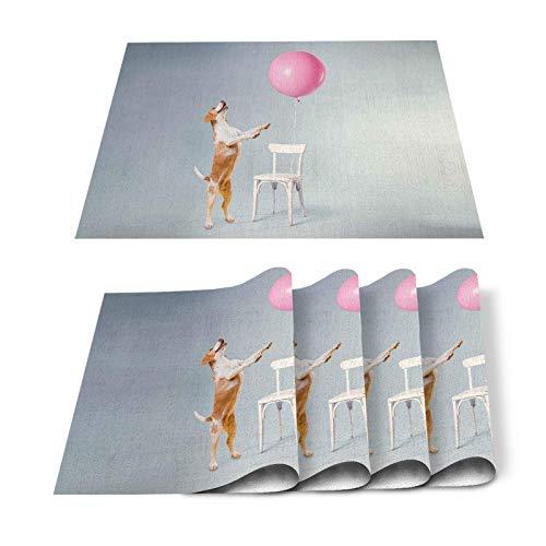 Juego de 6 manteles individuales, diseño de perro, color rosa, resistente al calor, lavable