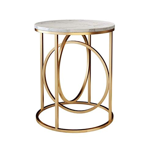 FACAIA Furniture Side Table Round Marble Table Geometric Champagne Gold Frame for Tea Shop/Coffee/Balcony Lounge/Reception Desk - 40X60cm