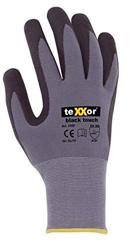 (12 Paar) teXXor Handschuhe Montagehandschuhe Black Touch 12 x grau/schwarz 10
