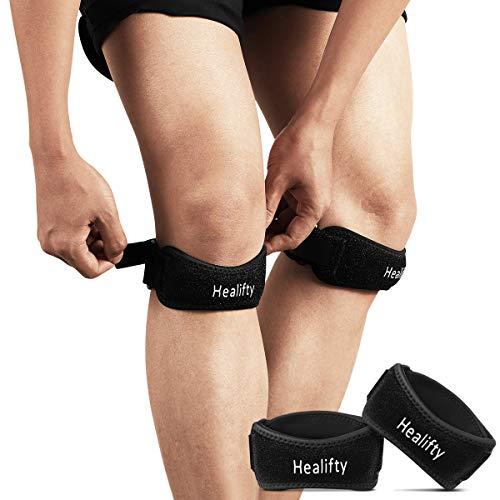 Healifty Patella Band - 2PCS Kniegurt Jumper Kniebandage Sport Patella Bandagen für Laufen, Arthritis, Basketball, Kniebeugen, Injury, Knieschmerzen Lindern(2 PCS)