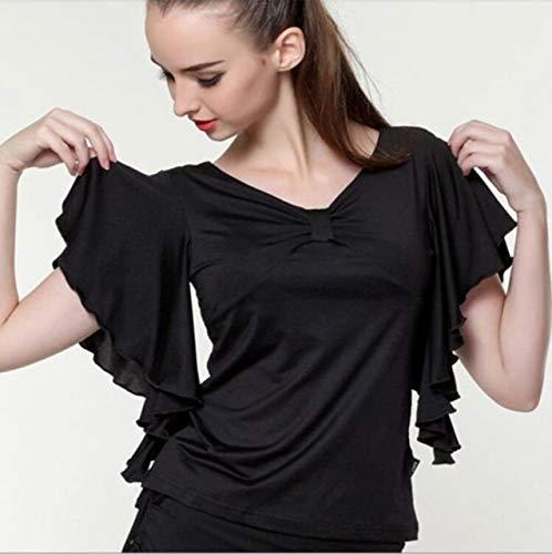 Ballroom Dance Top Flamenco Bluse Standard-Moderne Tänzer Kostüm Leistung Outfits Waltz Tanzkleider mit kurzen Ärmeln 7 Farben (Color : Black, Size : XXXL)