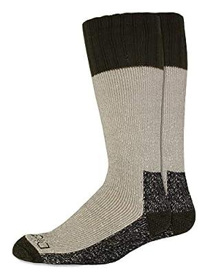 Dickies Men's High Bulk Acrylic Thermal Boot Crew Socks (2 & 4, Green (2 Pairs), Shoe Size: 6-12