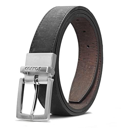 Corkor Vegan Leather Belt Cork Reversible   1 1/8 Inch (30 mm) Wide Brown Black color Medium Size