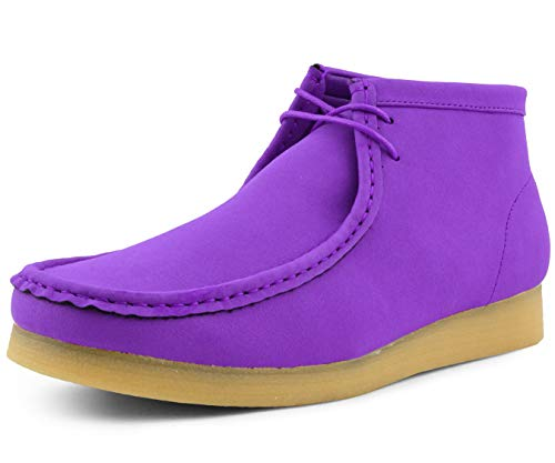 Amali Jason2 Chukka Boots for Men - Men's High-Top Casual Boots Manmade Suede Desert Chukka Boots - Casual Boots Lace Up Crepe Rubber Sole - Mens Desert Chukka Boots Purple Size 13