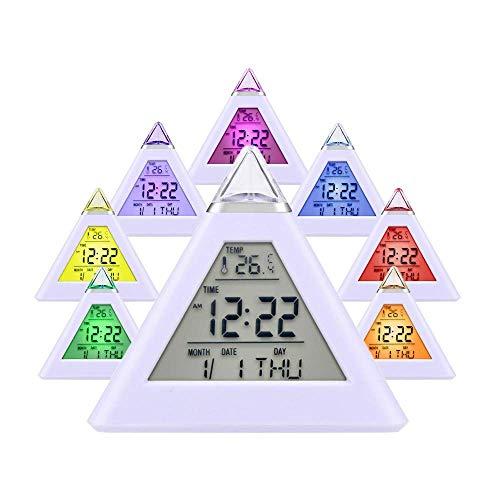 LED-Wecker, 7 LEDs, Farbwechsel-Pyramide, Temperatur, Schlummerfunktion,...