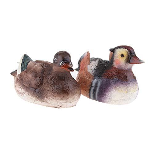 FLAMEER Künstliche Ente Vogelfigur Mandarinente Schwimmfigur Dekofigur Ornamente Deko - 15x8x8 cm