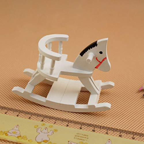 beautijiam 1/12 Scale Dollhouse Accessories, Nursery Wooden Rocking Horse Chair Toy Room Furniture Pretend Play Toy for Kids Boy Girl Bedroom Living Room