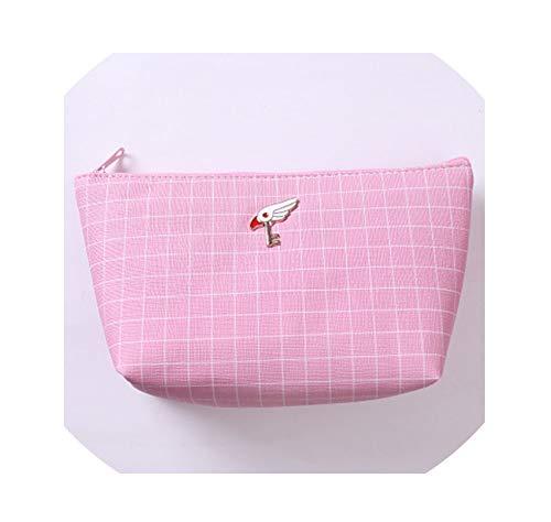 Women Pink Plaid Trel Cosmetic Bag Portable Zipper Girl Make Up Case Beauty Wash Toiletry Storage Kit Bag,4