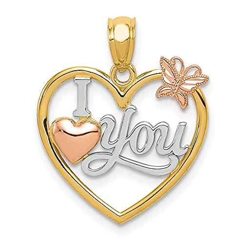 diamond2deal 14K oro I Love You en dos tonos corazón w mariposa colgante