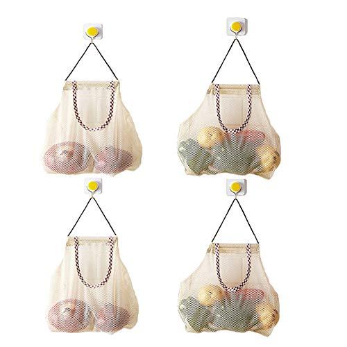 4 Sacs Polyvalents de Stockage de Maille Accrochante, Sacs de Fruits et Légumes Respirant Mesh pour Garlics, Pommes de Terre, Oignons ou Sacs à Ordures Sac de Rangement de Salle de Bain Organisateur