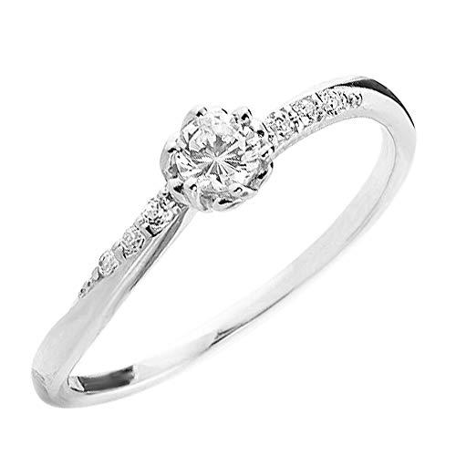 [ジュエリーアイ] 指輪 ピンキーリング セブンストーン ダイヤモンド リング イエローゴールドK10 10金 K10YG 王冠 12.5号