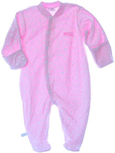 La Bortini Strampler mit Umschlagärmel Baby 50 bis 92 Overall Schalfanzug Rosa mit Sterne (50)