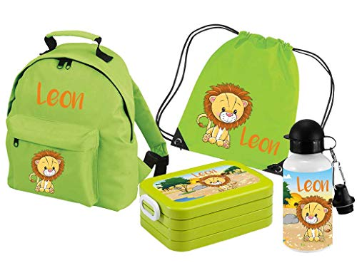 Mein Zwergenland Set 5 Kindergartenrucksack Classic und Brotdose Lunchbox Maxi, Turnbeutel + Trinkflasche mit Name Löwe, 4-teilig, Grün