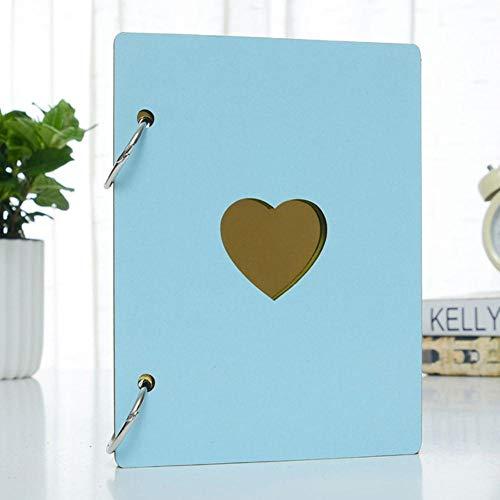 EDCV Fotoalbum DIY Cadeaus Love Heart Decor 6 Inch Fotoalbum Groei Houten kaft Familieherinnering Herdenkingsambacht Jubileumrecord, Hemelsblauw