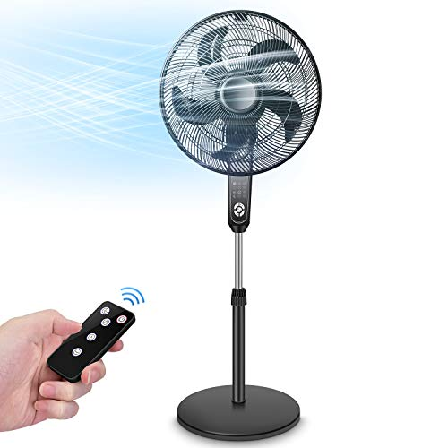 Pedestal Fan - Oscillating Standing Fan with Remote Control, Large Stand Up Fan,Powerful 4 Speeds, 3 Modes, Timer Function, Adjustable Height & Tilt, 2 in 1 Large Floor Fan for Living Room, Bedroom, Outdoor Patio